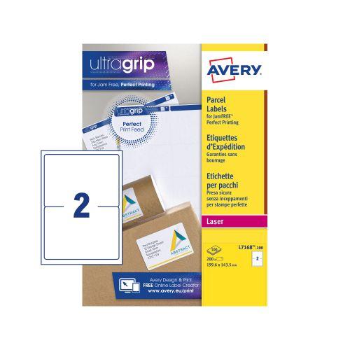 Avery Ultragrip Laser Labels 199.6x143.5mm Wht (Pack of 200) L7168-100