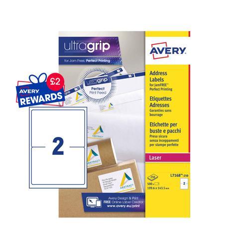 Avery Ship Labels 200x143mm L7168-250 2 Per Sheet PK500