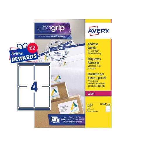 Avery Shipping Labels 139x99mm L7169-100 4 Per Sheet PK400