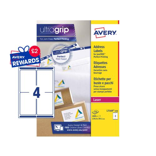 Avery Ship Labels 99x139mm L7169-250 4 Per Sheet PK1000