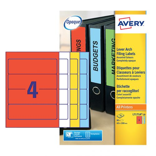 Avery Lever Arch Spine Label 200 x 60mm (Pack of 80) L7171A-20