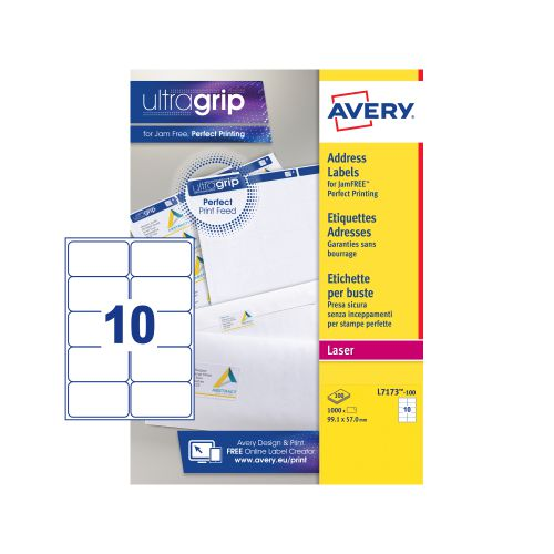 Avery Ultragrip Laser Labels 99.1x57mm White (Pack of 1000) L7173