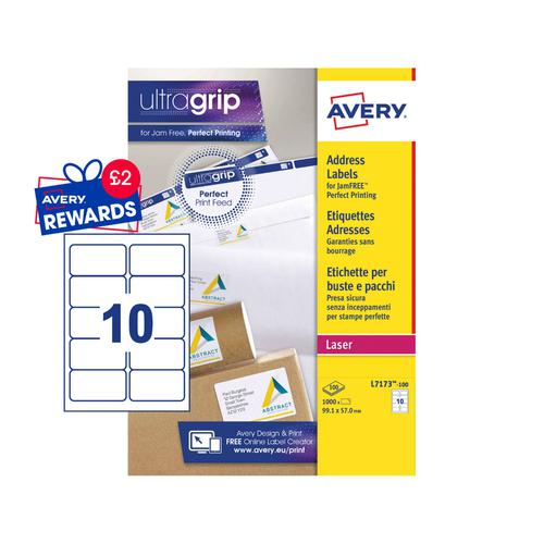 Avery Laser Address Label 99.1x57mm 10 Per A4 Sheet White (Pack 1000 Labels) L7173-100