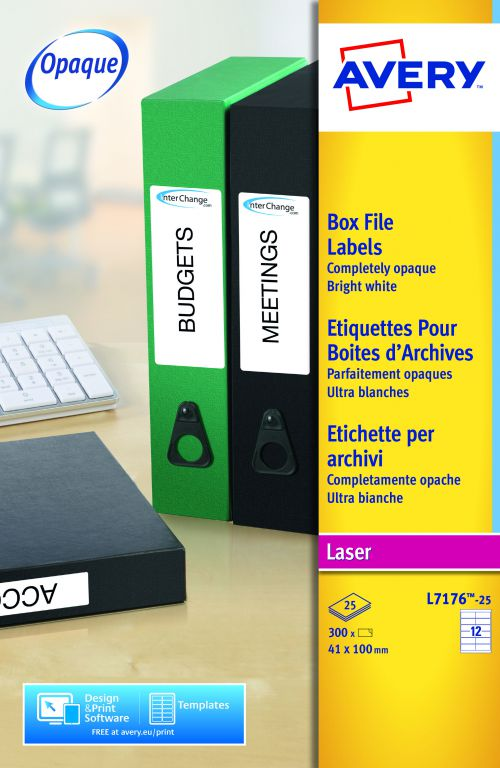 Avery L7176-25 Filing labels, 41 x 100 mm, Permanent, 12 Labels Per Sheet, 300 Labels Per Pack