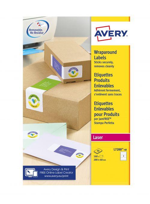 Avery L7200-40 Wraparound Parcel Labels, 200 x 60mm, Pemanent, 4 Labels Per Sheet, 160 Labels Per Pack