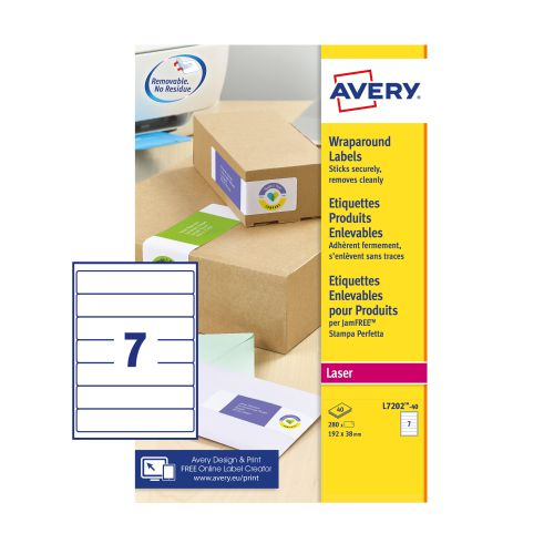 Avery L7202-40 Wraparound Parcel Labels, 192 x 38mm, Pemanent, 7 Labels Per Sheet, 280 Labels Per Pack