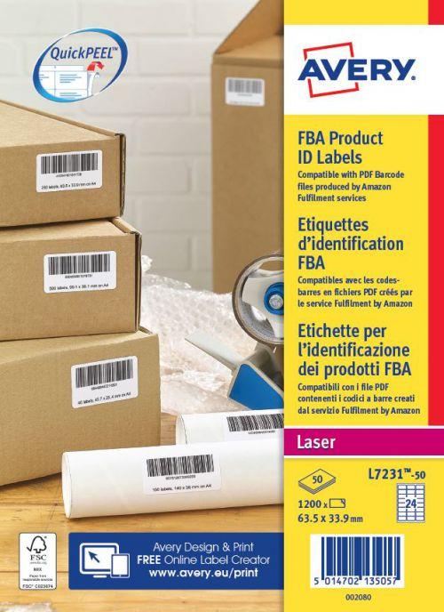 Avery L7231-50 FBA Labels, 63.5 x 33.9mm, Permanent, 24 Labels Per Sheet, 1200 Labels Per Pack