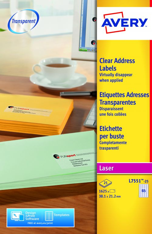 Avery Mini Address Labels Laser 65 per Sheet 38.1x21.2mm Clear Ref L7551-25 [1625 Labels]