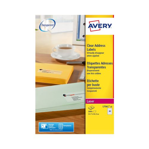 Avery L7561-25 Mini Labels, 44.5 x 12.7 mm, Permanent, 80 Labels Per Sheet, 2000 Labels Per Pack