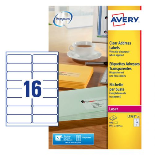 Avery Clear Laser Labels 99x34mm (Pack of 400) L7562-25