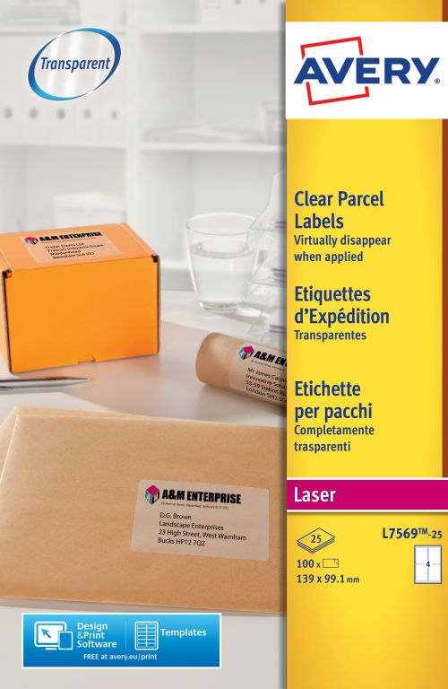 Avery L7569-25 Parcel Labels, 139 x 99.1 mm, Permanent, 4 Label Per Sheet, 100 Labels Per Pack