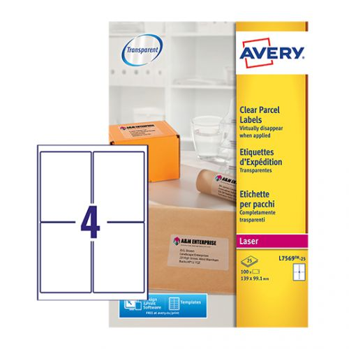 Avery L7569-25 Parcel Labels, 139 x 99.1 mm, Permanent, 4 Label Per Sheet, 100 Labels Per Pack