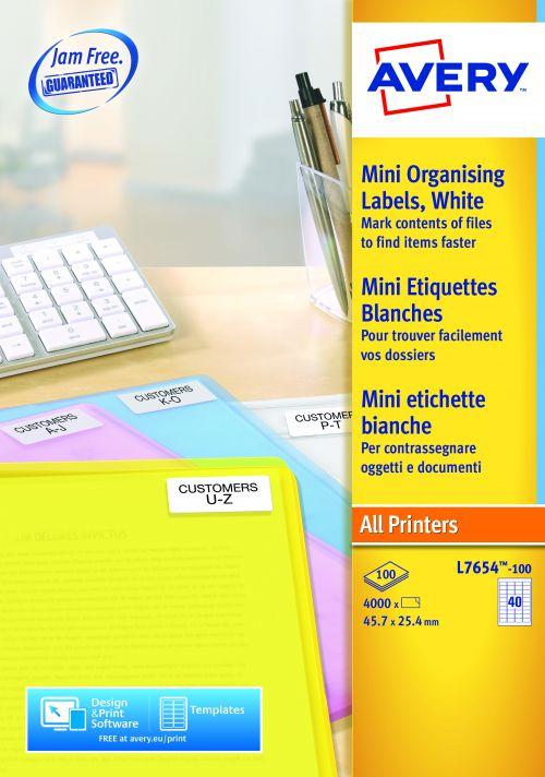 Avery L7654-100 Address Labels, 45.7 x 25.4 mm, Permanent, 40 Labels Per Sheet, 4000 Labels Per Pack