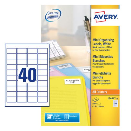 Avery Laser Mini Labels 45.7 x 25.4mm White (Pack of 1000) L7654-25 Small Labels AV99284