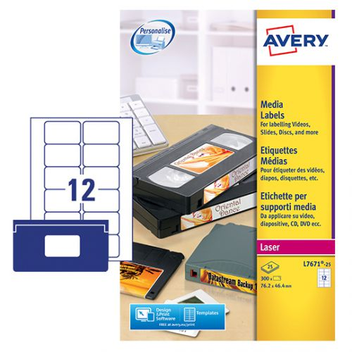 Avery Video Face Label 76x46mm 12 Per Sheet White(Pack of 300)L7671-25 Small Labels AVL7671
