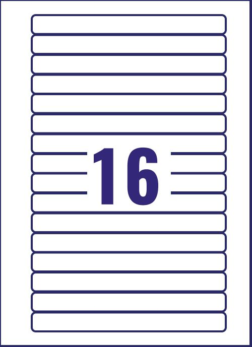 Avery Video Spine Label 145x17mm 16 Per Sheet Wht(Pack of 400)L7674-25 Small Labels AVL7674