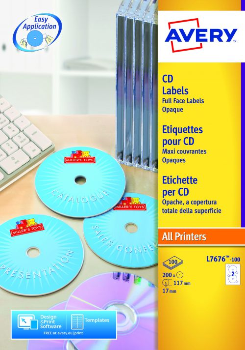 Avery CD/DVD Labels Laser 2 per Sheet Dia.117mm Full Face Opaque White Ref L7676-100 [200 Labels]