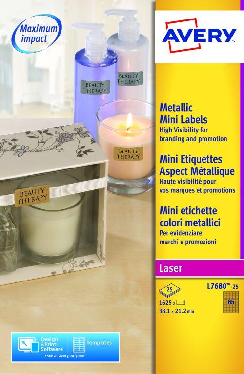 Avery L7680-25 Mini Labels , 38.1 x 21.2 mm, Permanent, 65 Labels Per Sheet, 1625 Labels Per Pack
