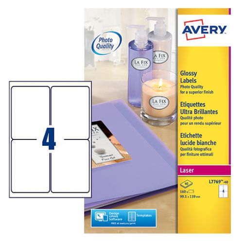 Avery L7769-40 Glossy Labels, 139 x 99.1 mm, Permanent, 4 Labels Per Sheet, 160 Labels Per Pack