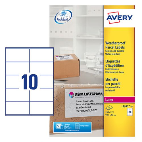 Avery Weatherproof Shipping Label 10 Per Sheet (Pack Of