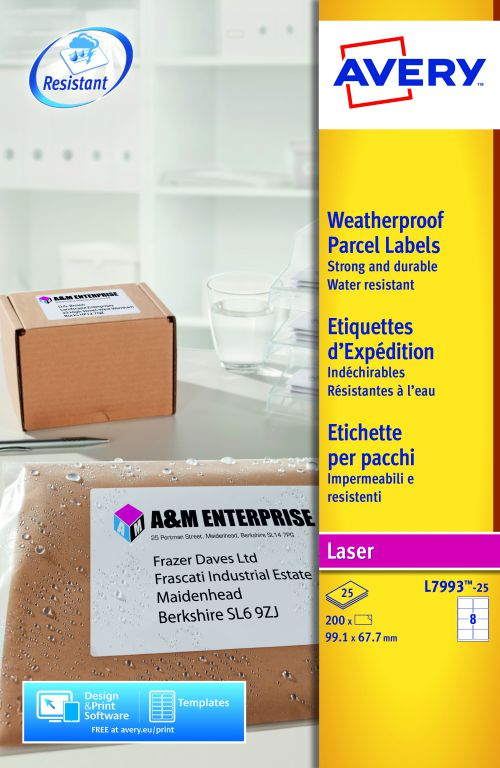 Avery Weatherproof Ship Label 99x67mm L7993-25 8 p/sht PK200