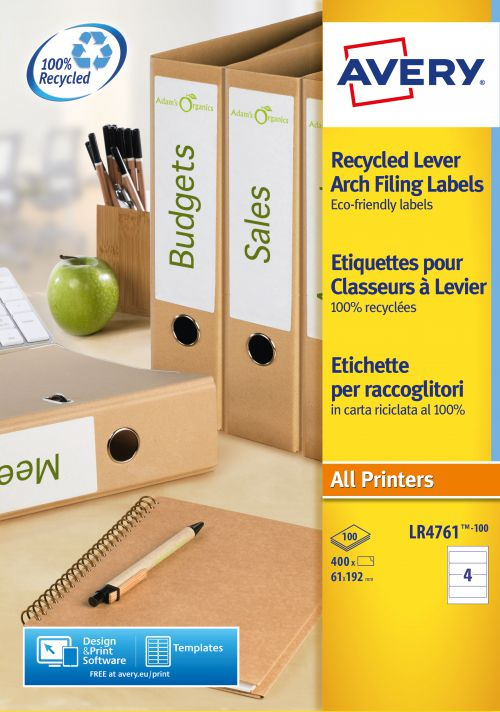 Avery Recycled Filing Labels 61x192mm.4 Labels Per Sheet