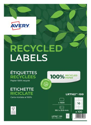 Avery Laser Recycled Address Label 99.1x33.9mm 16 Per A4 Sheet White (Pack 1600 Labels) LR7162-100