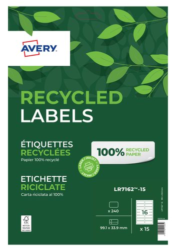 Avery Laser Recycled Address Label 99.1x33.9mm 16 Per A4 Sheet White (Pack 240 Labels) LR7162-15