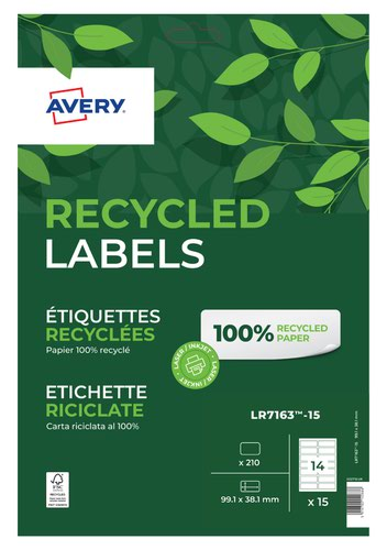Avery Laser Recycled Address Label 99.1x38.1mm 14 Per A4 Sheet White (Pack 210 Labels) LR7163-15