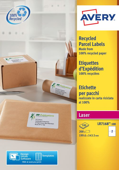 Avery Laser Labels Recycled 2 Per Sheet White (Pack of 200) LR7168-100