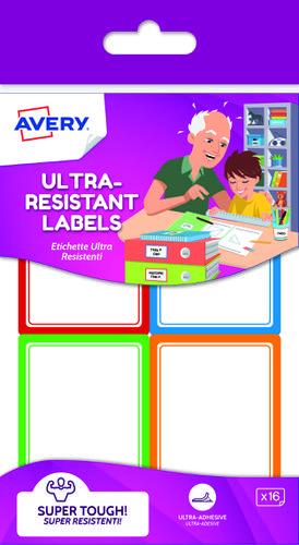 16 Ultra resistant labels, size: 44 x 64 mm, resistant rectangular labels