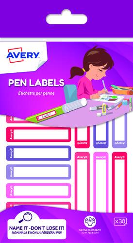 30 Pen labels Blue & Green, size: 50 x 10 mm