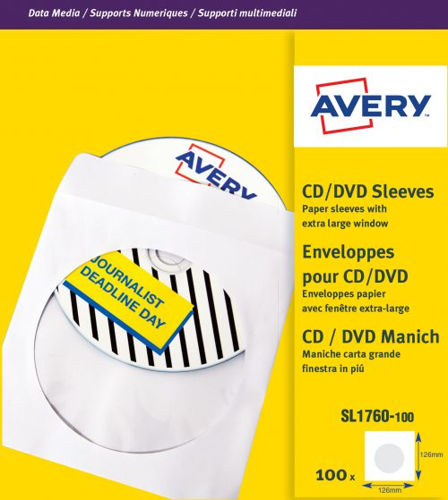 Avery SL1760-100 Data Storage Labels, 126 x 126 mm, Permanent, 100 Labels Per Pack