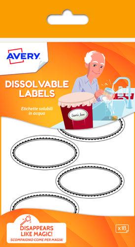 18 Dissolvable labels, size: 55 mm x 29 mm