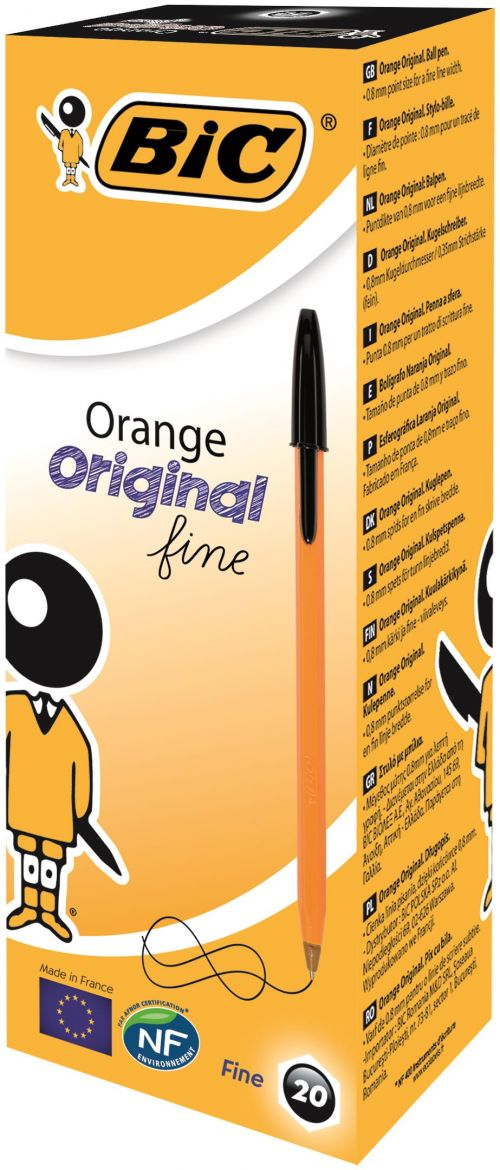 Bic Orange Fine Ballpoint Pen Black (Pack of 20) 1199110114