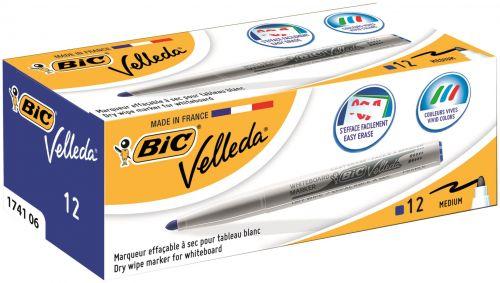 Bic Velleda 1741 Bullet Tip Whiteboard Marker Blue (Pack 12)