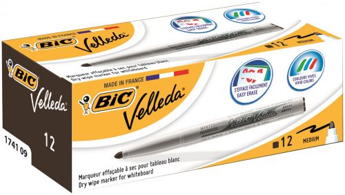 Bic Velleda 1741 Drywipe Marker Black (Pack of 12) 1199174109