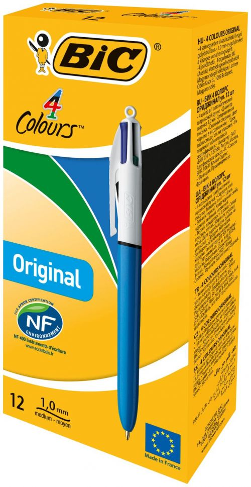 Bic 4 Colours Retractable Ballpoint Pen (Pack of 12) 801867