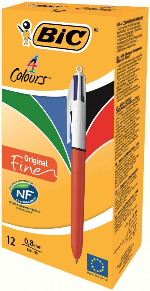 Bic 4 Colours Fine Ballpoint Pen 0.8mm Tip 0.30 Line Red/White Barrel Black/Blue/Green/Red Ink (Pack 12)