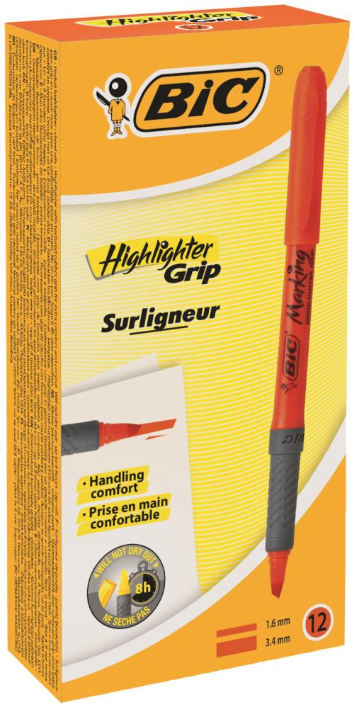 Bic Briteliner Grip Chisel Tip Highlighter Pen Orange (PK12)