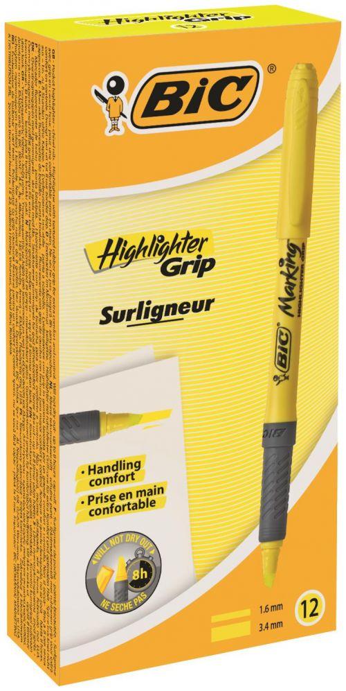 Bic Briteliner Grip Chisel Tip Highlighter Pen Yellow PK12