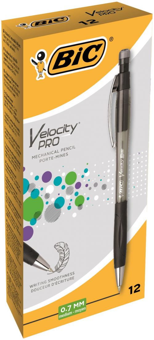Bic Velocity Pro Mechanical Pencil Rubber-grip Retractable with HB 0.7mm Lead Ref 8206462 [Pack 12]