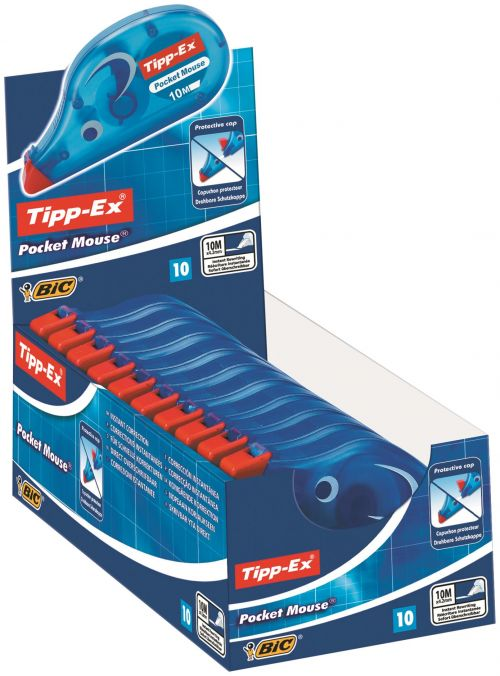 Tipp-Ex Pocket Mouse Correction Tape Roller Disposable 4.2mmx10m Ref 8207891 [Pack 10]
