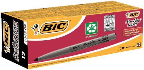 Bic Pocket Permanent Marker Bullet Tip Black (Pack of 12) 8209021 BC45095