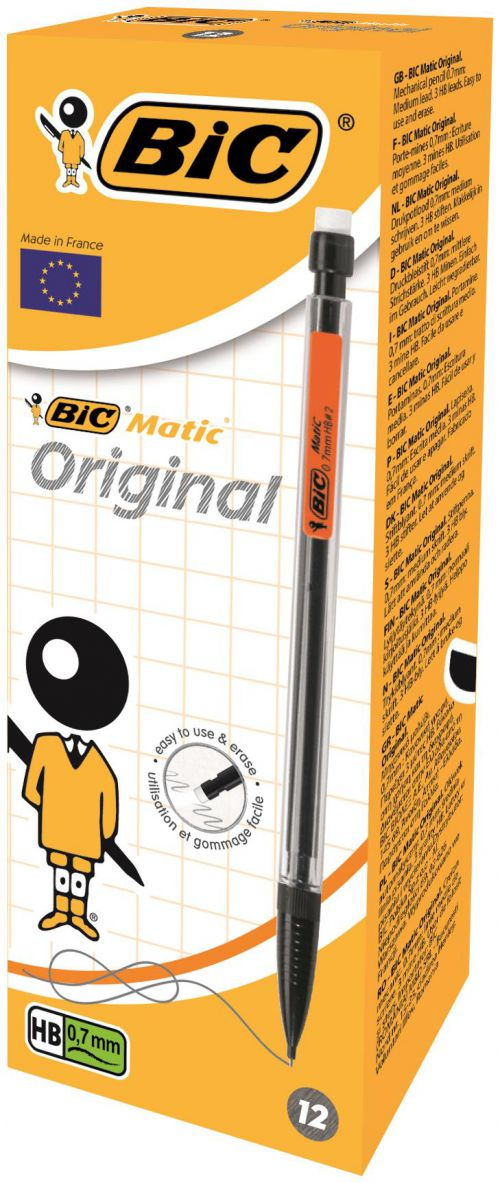 Bic Matic Classic Mechanical Pencil with Eraser 3 x HB 0.7mm Lead Asstd Barrel Cols Ref 820959 [Pack 12]