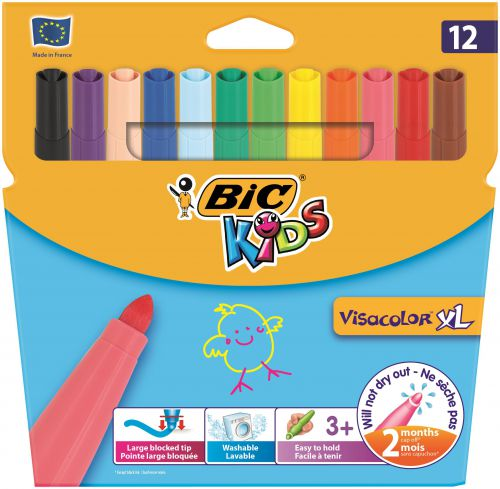 Bic Kids Assorted Visa XL Felt Pens (Pack of 12) 829007
