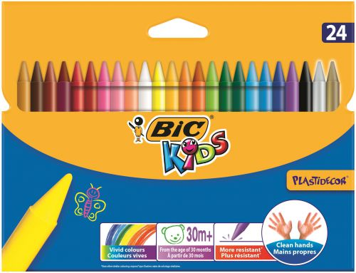 Bic Kids Plastidecor Hard Sharpenable Crayons Asst (Pack 24)