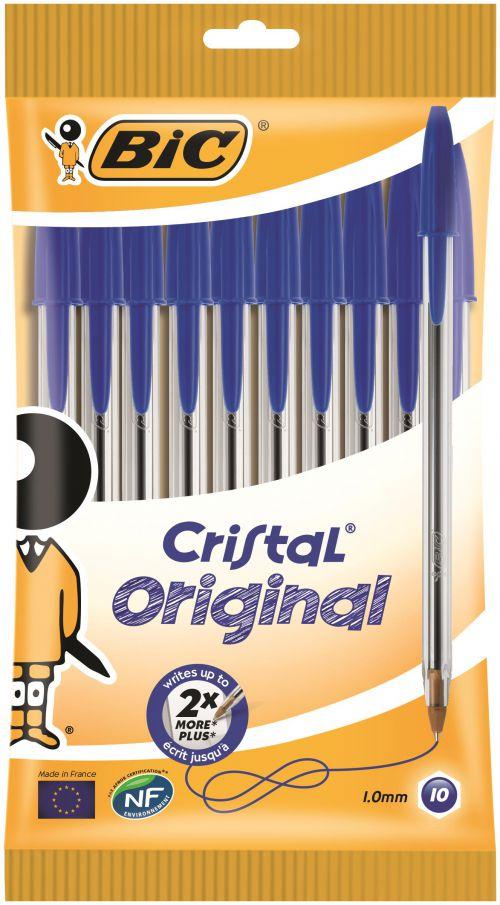 Bic Cristal Ballpoint Pen 1.0mm Tip 0.32mm Line Blue (Pack 10)