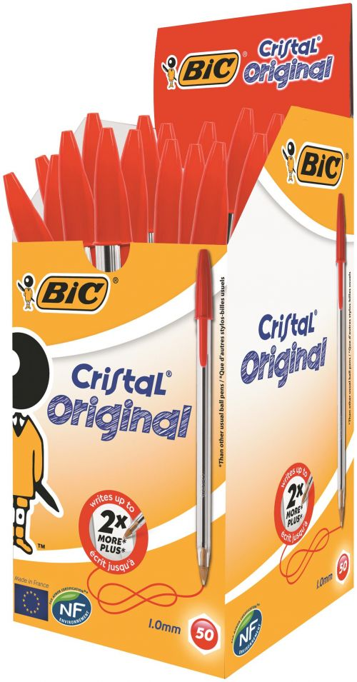 Bic Cristal Ballpoint Pen Medium Red (Pack of 50) 837361