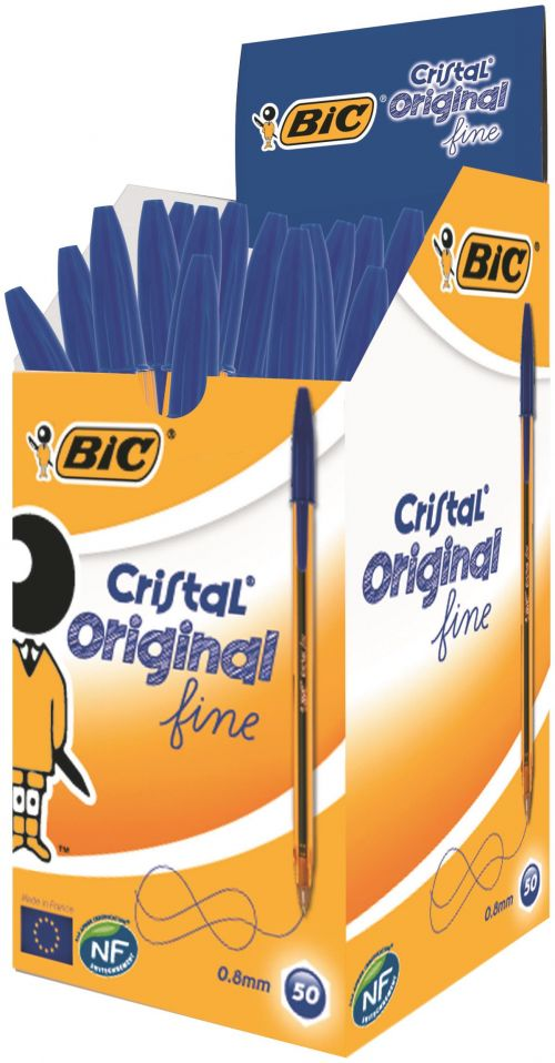 Bic Cristal Fine Ballpoint Pen Blue (Pack of 50) 872730